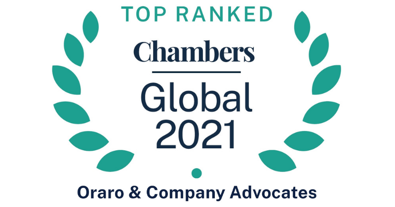 Oraro & Company Advocates Celebrates Higher Rankings in the Chambers Global 2021